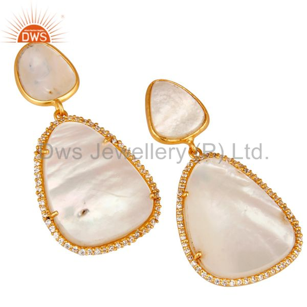 Exporter Mother of Pearl MOP 18K Gold Plated Sterling Silver Drop Dangle Earring