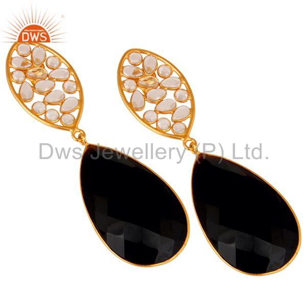 Exporter Black Onyx and Zircon 18K Gold Plated Sterling Silver Dangler Earring