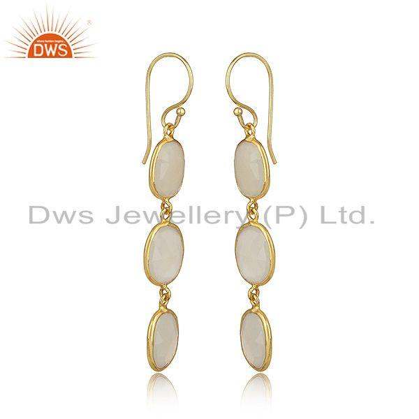 Yellow gold plated 925 silver white chalcedony handmade dangle