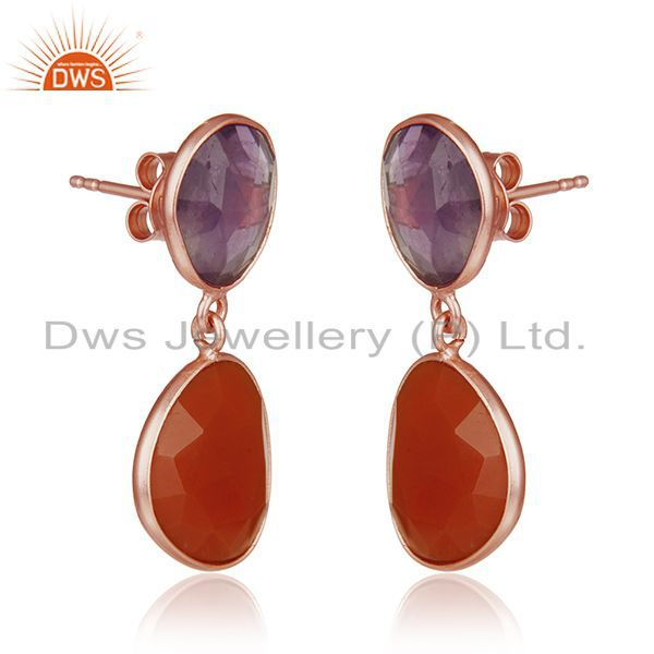 Exporter Amethyst and Onyx Gemstone Rose Gold Plated Silver Drop Earrings Manufacturer