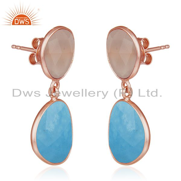 Exporter Handmade Rose Gold Plated Sterling Silver Multi Gemstone Drop Earrings Jewelry