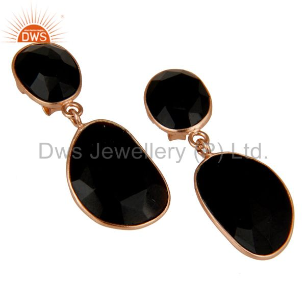 Wholesale Faceted Black Onyx 18K Gold Plated Sterling Silver Handmade Drop Dangle Earring