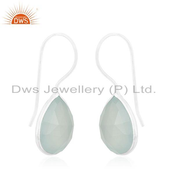 Exporter Aqua Chalcedony Gemstone 925 Sterling Fine Silver Drop Earring Manufacturers