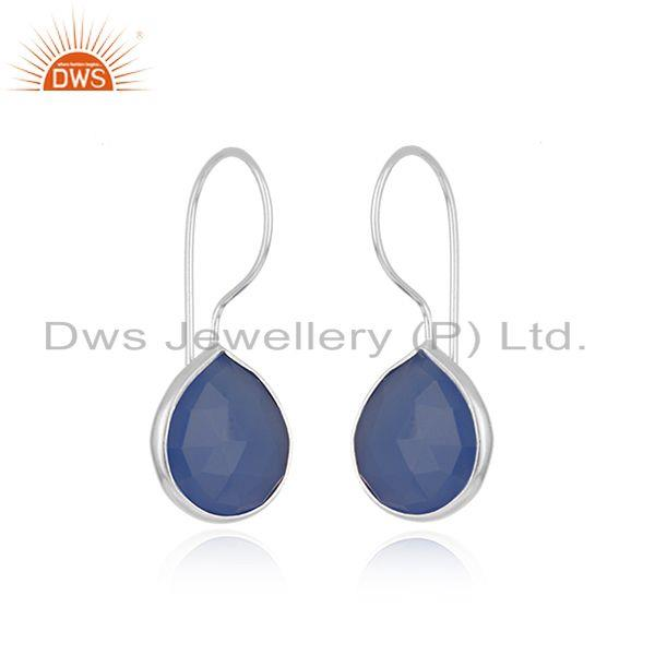 Exporter Blue Chalcedony Gemstone Sterling Fine Silver Drop Earring Wholesale