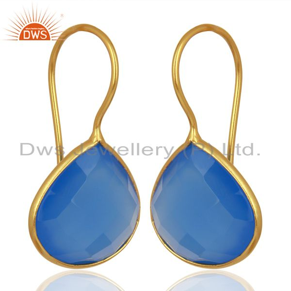 Exporter Blue Chalcedony Heart Shape 92.5 Sterling Silver Gold Plated Drop Earring