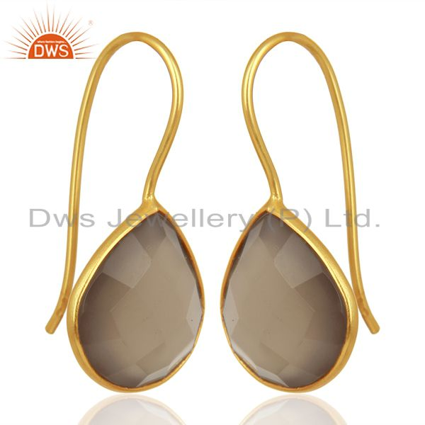 Exporter Designer Gold Plated Silver Gray Chalcedony Gemstone Earring Jewelry