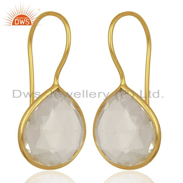 Exporter Crystal Heart Shape 92.5 Sterling Silver Gold Plated Drop Earring
