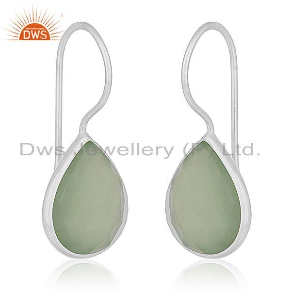 Exporter Prehnite Chalcedony Gemstone 925 Sterling Silver Earring Manufacturers