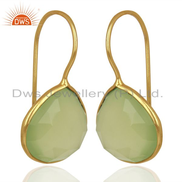 Exporter Prehnite Chalcedony Heart Shape 92.5 Sterling Silver Gold Plated Drop Earring