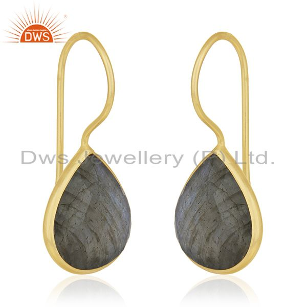 Exporter 925 Silver Gold Plated Labradorite Gemstone Earring Manufacturer