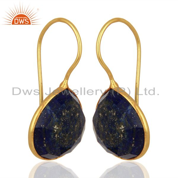 Exporter Lapis Heart Shape 92.5 Sterling Silver Gold Plated Drop Earring