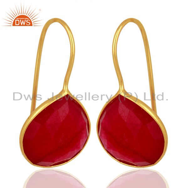 Exporter Red Aventurine Gemstone Gold Plated Silver Handmade Earrings Jewelry
