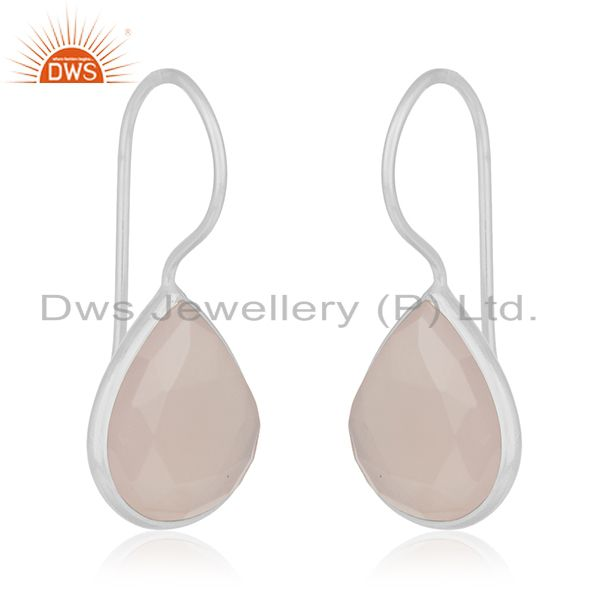 Exporter Rose Chalcedony Gemstone 925 Sterling Silver Drop Earrings Manufacturers