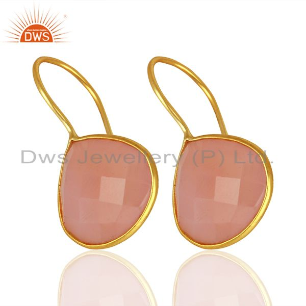 Exporter Rose Chalcedony Gemstone Gold Plated 925 Silver Earrings Manufacturer