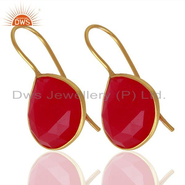 Exporter Pink Chalcedony Gemstone Gold Plated Designer Silver Earrings Jewelry