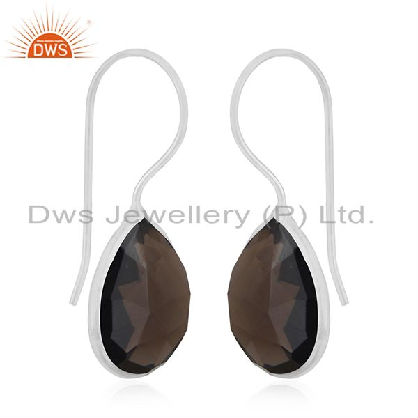 Exporter Smoky Quartz 925 Sterling Silver Drop Earring Manufacturer of Custom Jewelry