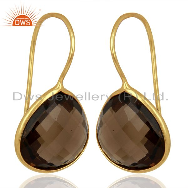 Exporter Smoky Topaz Heart Shape 92.5 Sterling Silver Gold Plated Drop Earring
