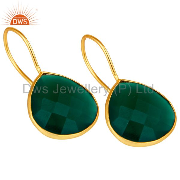 Exporter Green Onyx 18K Gold Plated 925 Silver Bezel Set Earring