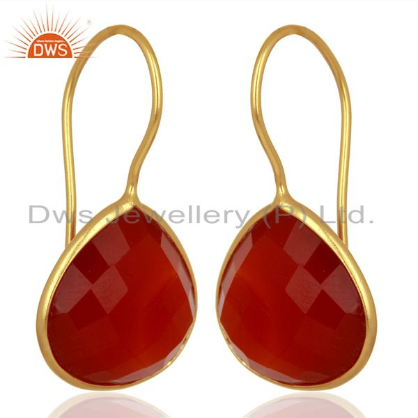 Exporter Red Onyx Heart Shape 92.5 Sterling Silver Gold Plated Drop Earring