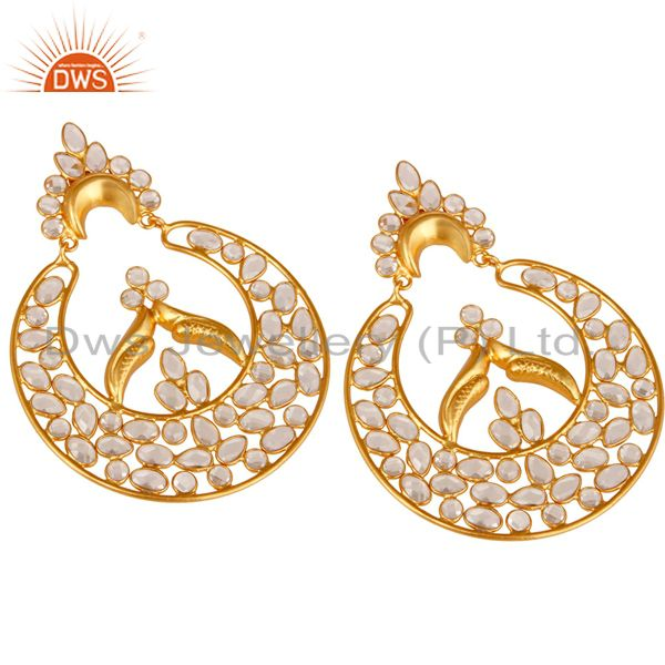 Exporter White Zircon and 18K Gold Plated Sterling Silver Dangler Earring Jewelry