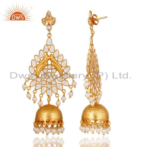 Exporter Pearl and White Zircon 18K Gold Plated Sterling Silver Jhumka Earring