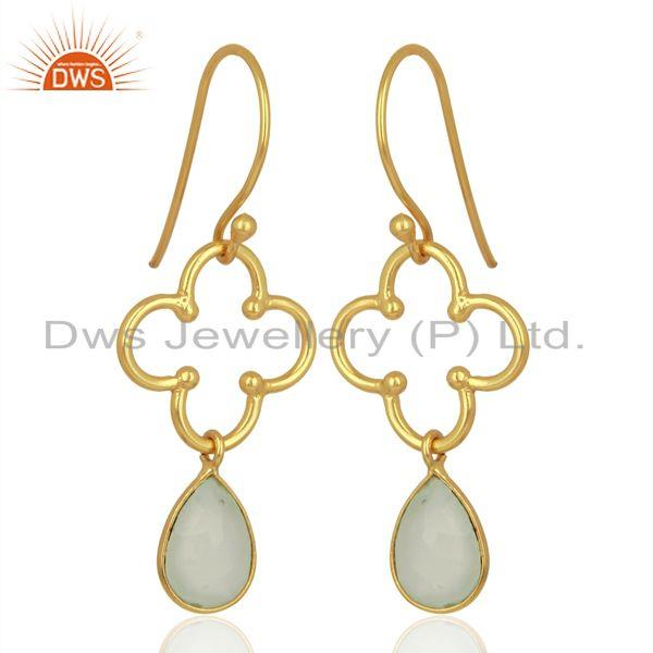 Exporter Aqua Chalcedony 14K Gold Plated Sterling Silver Artisan Earrings