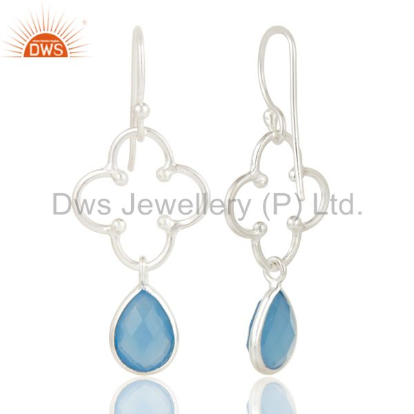 Exporter Solid 925 Sterling Silver Handmade Dyed Chalcedony Gemstone Artisan Earrings