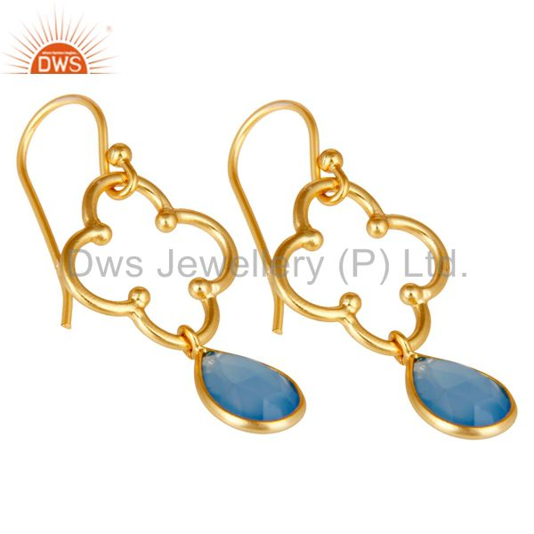 Exporter Blue Chalcedony 18K Gold Plated Sterling Silver Artisan Earrings