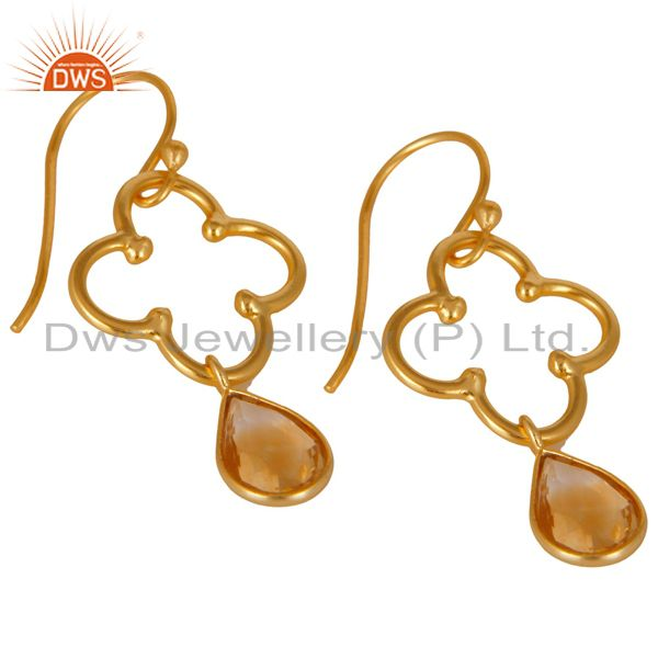 Exporter 14K Gold Plated 925 Sterling Silver Handmade Citrine Bezel Set Dangle Earrings