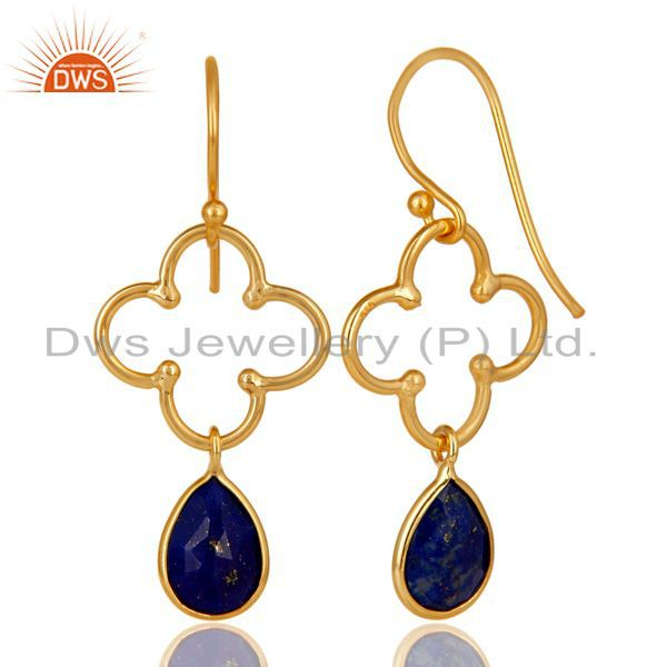 Exporter 14K Yellow Gold Plated 925 Sterling Silver Lapis Lazuli Artisan Dangle Earrings