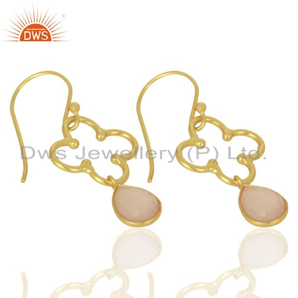 Exporter Rose Chalcedony Dangle 14K Yellow Gold Plated 925 Sterling Silver Earrings