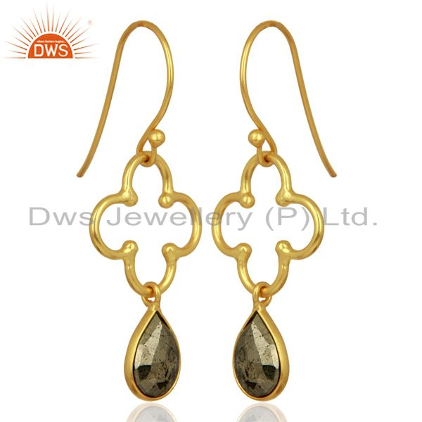 Exporter Pyrite Dangle 18K Yellow Gold Plated 925 Sterling Silver Earrings Jewelry