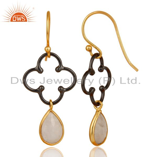 Exporter 14K Gold Plated & Oxidized 925 Sterling Silver Artisan Rainbow Moonstone Earring