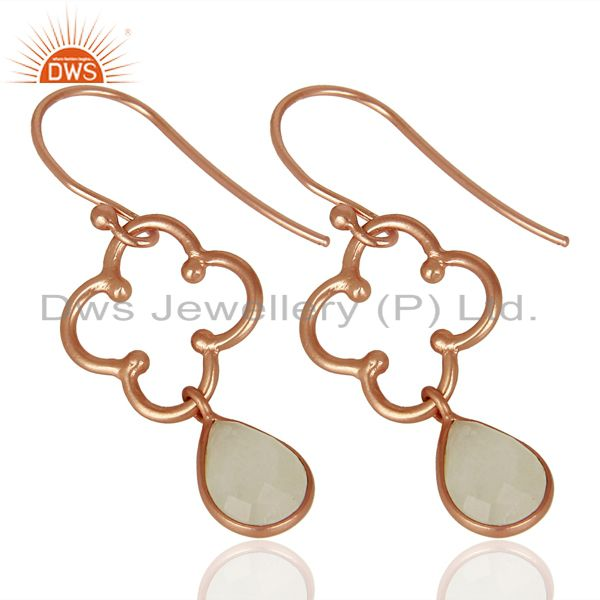 Exporter Designer Rose Gold Plated Silver Rainbow Moonstone Earrings Supplier