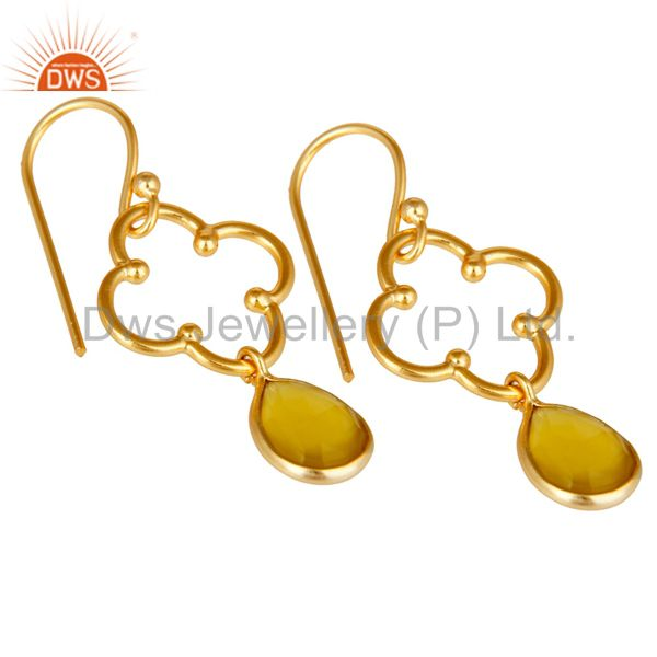 Exporter Yellow Chalcedony 18K Gold Plated Sterling Silver Artisan Earrings