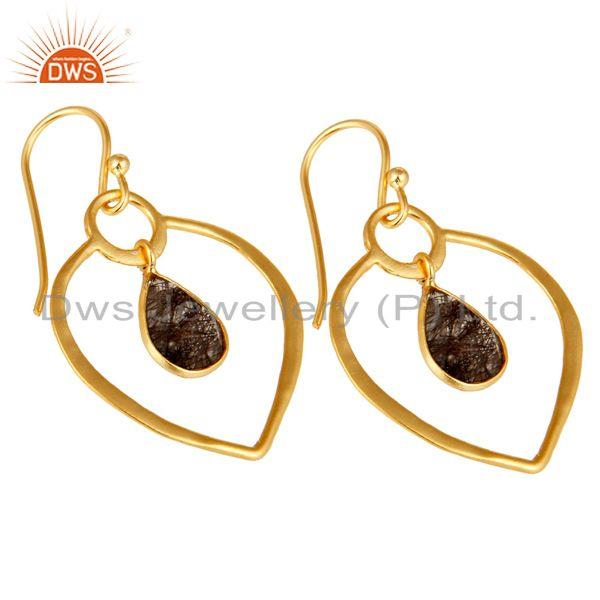 Exporter Black Rutile 18K Gold Plated Heart Shape Designed Sterling Silver Earring