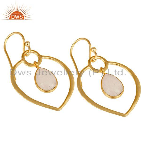 Exporter Rainbow Moonstone 14K Gold Plated Heart Shape Designed Sterling Silver Earring