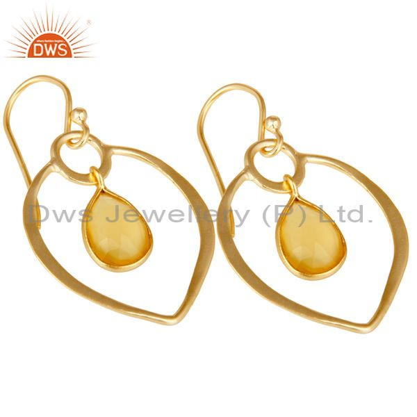 Exporter Yellow Chalcedony 18K Gold Plated Heart Shape Designed Sterling Silver Earring