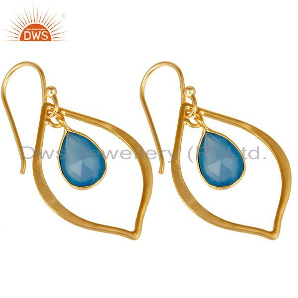 Exporter Blue Chalcedony 18K Gold Plated Art Deco Sterling Silver Earring