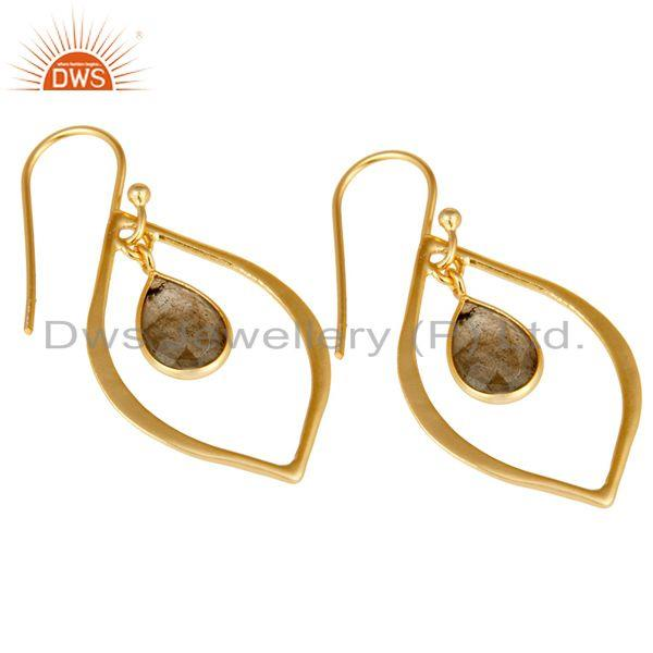 Exporter Labradorite 18K Gold Plated Art Deco Sterling Silver Earring