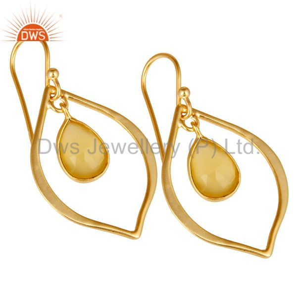 Exporter Yellow Chalcedony 18K Gold Plated Art Deco Sterling Silver Earring