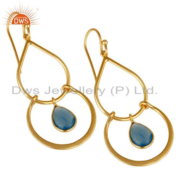 Exporter Art Deco Blue Chalcedony 18K Gold Plated Sterling Silver Earring