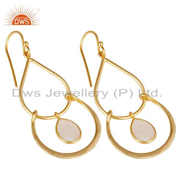 Exporter Art Deco Rainbow Moonstone 18K Gold Plated Sterling Silver Earring