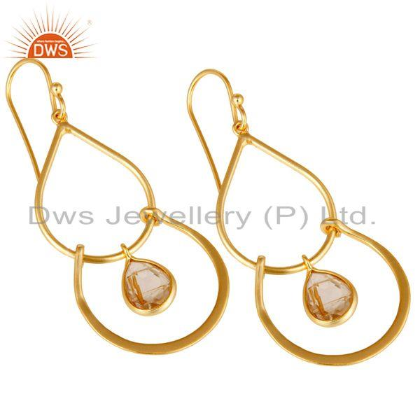 Exporter Art Deco Golden Rutile 14K Gold Plated Sterling Silver Dangle Earrings