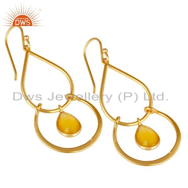 Exporter Art Deco Yellow Chalcedony 18K Gold Plated Sterling Silver Earring