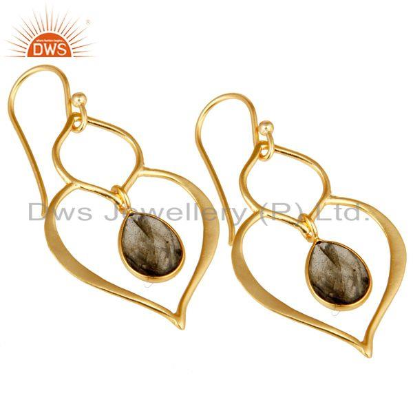 Exporter Art Deco Labradorite 18K Gold Plated Sterling Silver Heart Shape Earring