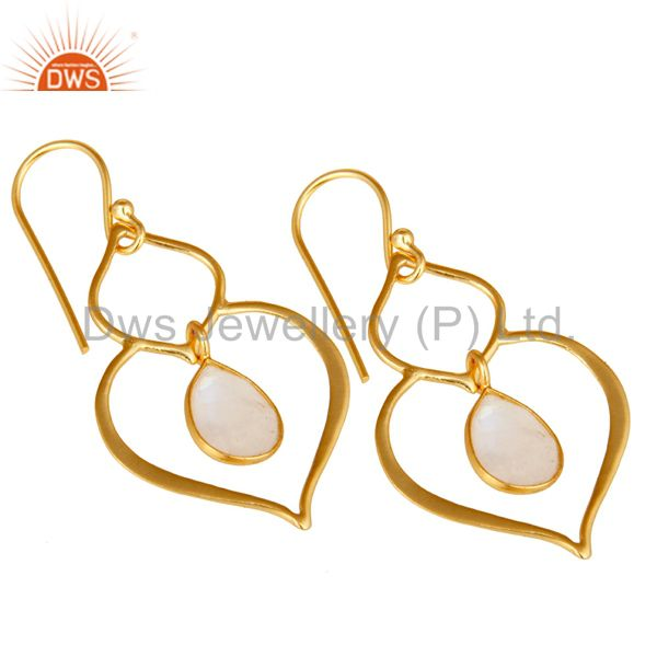 Exporter Art Deco Rainbow Moonstone 18K Gold Plated Sterling Silver Heart Shape Earring