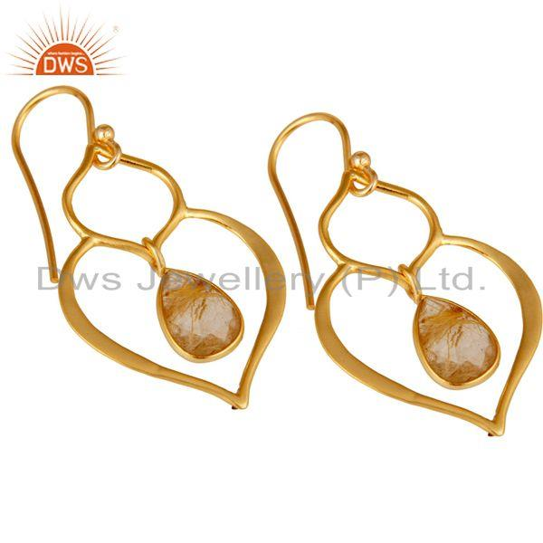 Exporter Art Deco Yellow Rutile 18K Gold Plated Sterling Silver Heart Shape Earring