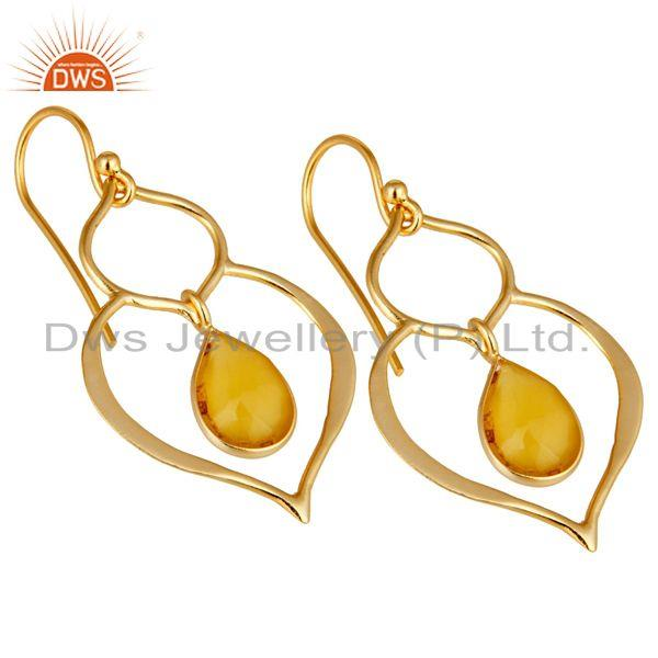 Exporter Art Deco Yellow Chalcedony 18K Gold Plated Sterling Silver Heart Shape Earring