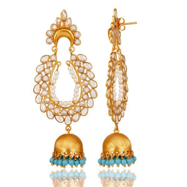 Exporter 18K Gold Plated 925 Sterling Silver Pearl Zircon Bollywood Jhumka Earrings